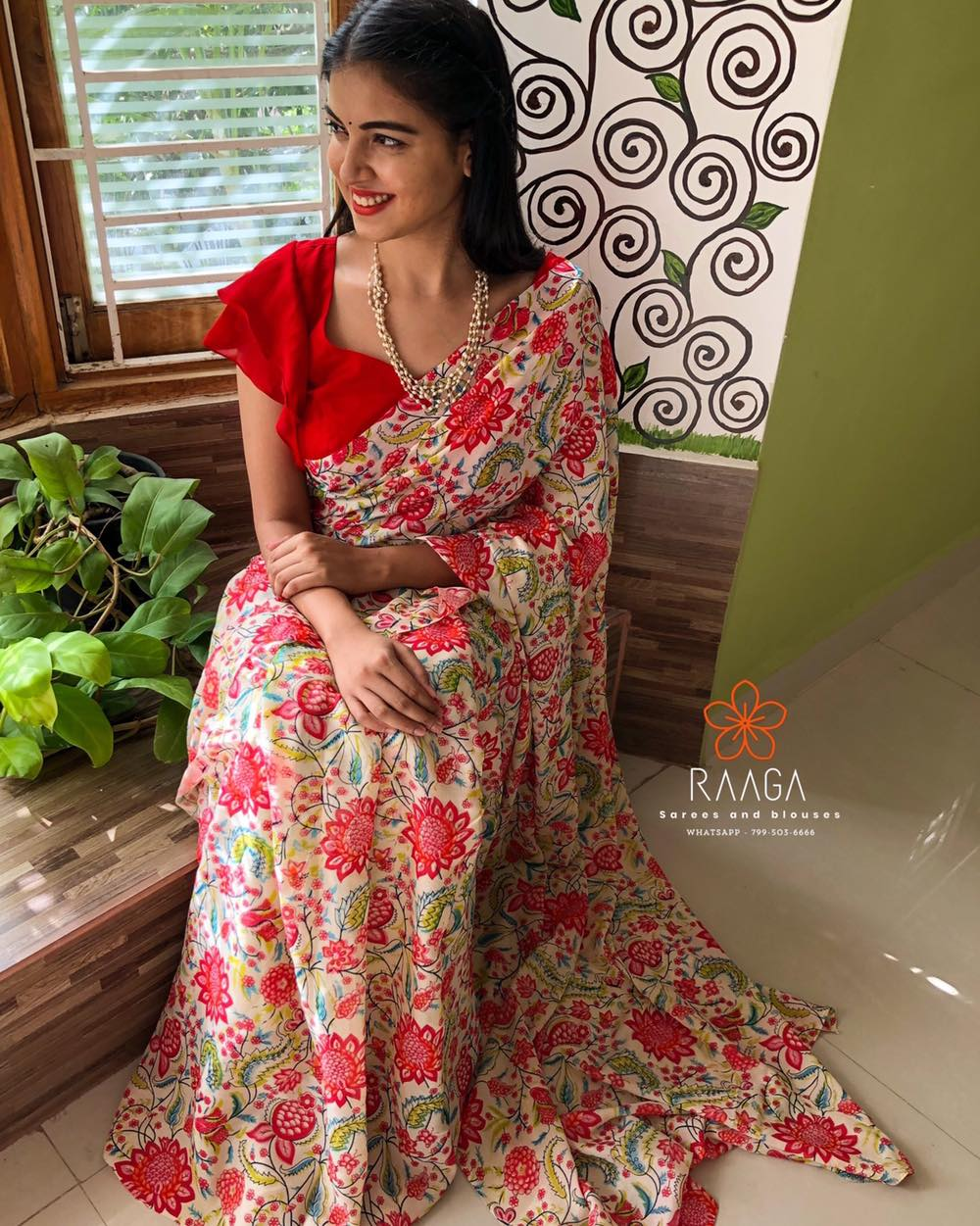 VALENTINE !  Don't miss out this eye catching floral crape saree extremely comfortable and easy to wear paired up with chilli red crape blouse .  . . Price of the saree Only (Printed pure crape) - 3300 INR  Price of the blouse material(pure crape unstitched) - 500 INR  Blouse stitching  Fall and pico can be done at additional cost.  . . For placing orders  Kindly whatsapp  at 7995036666 (RAAGA - A unit of YELLOW ) . 2021-04-05