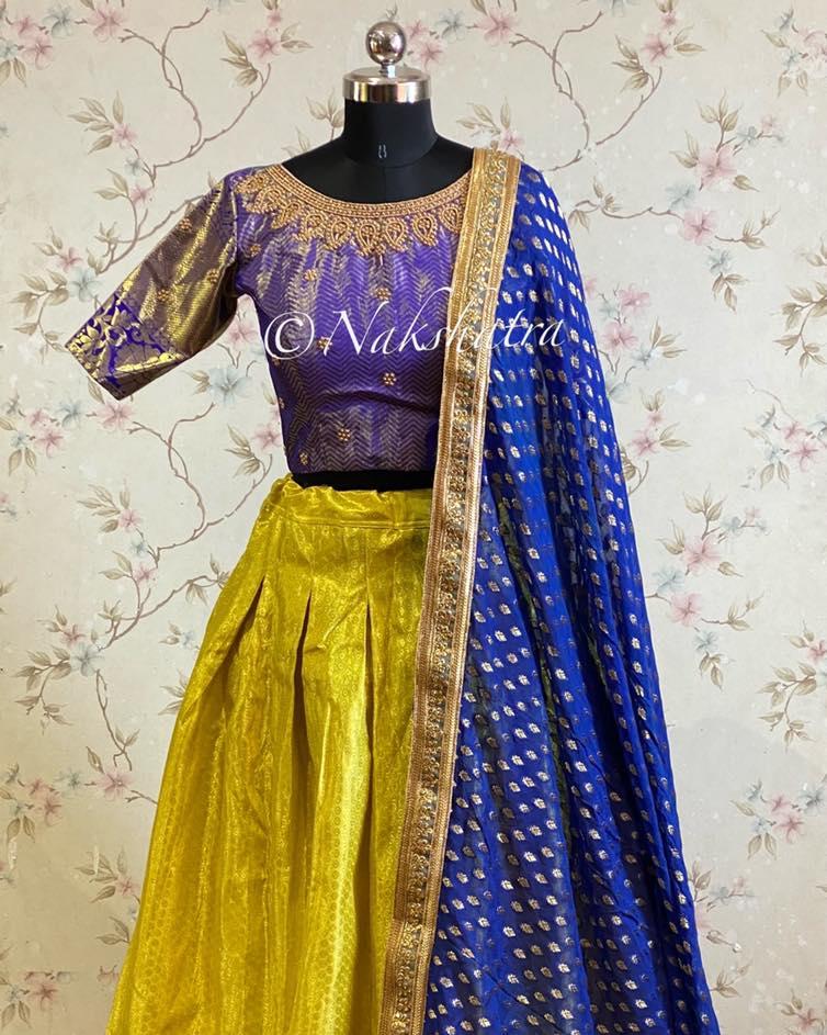 Lemon Yellow and purplish blue combo kanchipuram lehanga paired with handwork blouse and banarasi gorgette dupatta.  2021-04-05