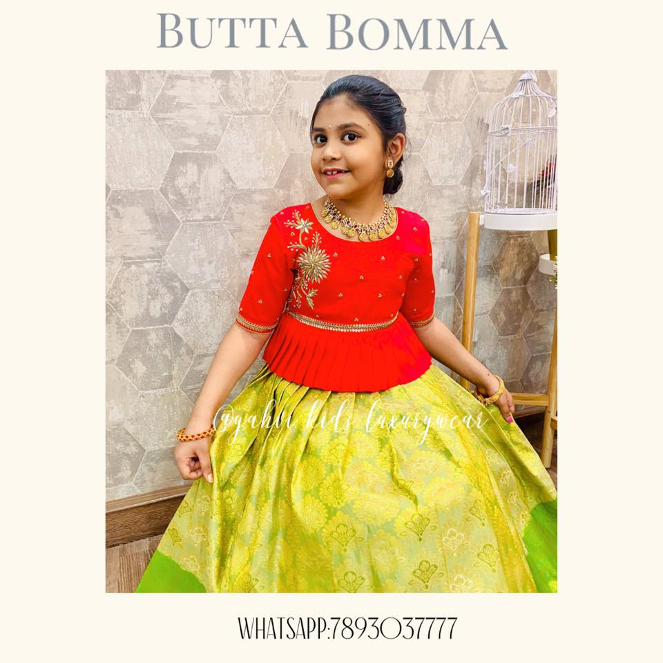 Butta bomma series : Kanchi pattu lehangas for all ages handpicked by YAHVI designers . Every piece is  uniquely handcrafted with intricate hand embroidery details. For Ordere DM or whatsapp 7893037777. 2021-04-05