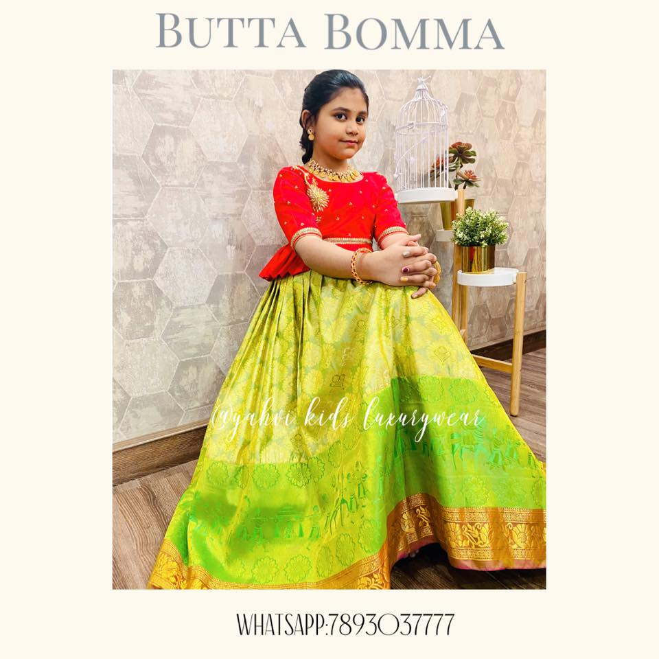 Butta bomma series : Kanchi pattu lehangas for all ages handpicked by YAHVI designers . Every piece is  uniquely handcrafted with intricate hand embroidery details.