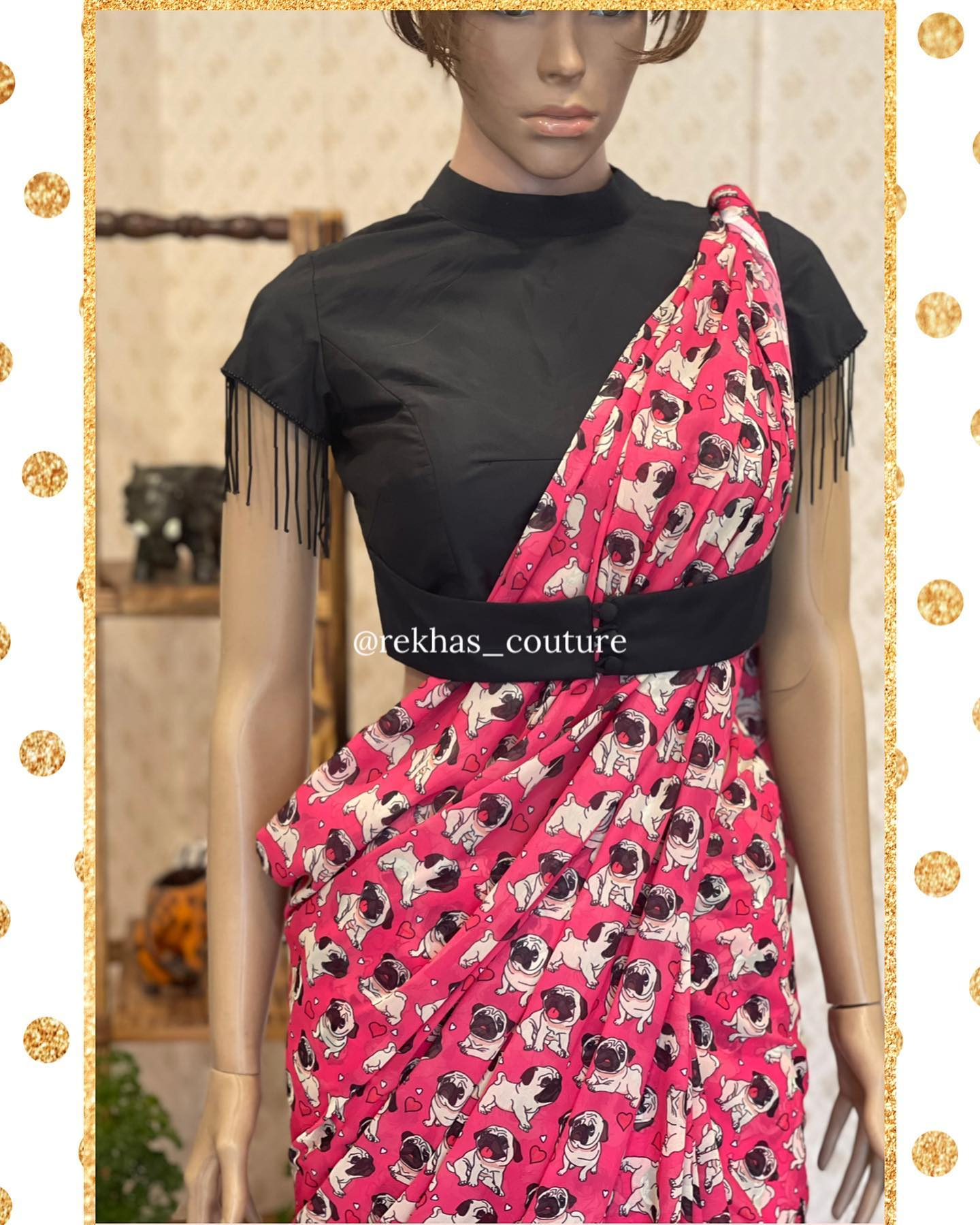 Gorgeous pink color party wear saree with hutch dog print and black colorhigh neckblouse. 2021-04-05