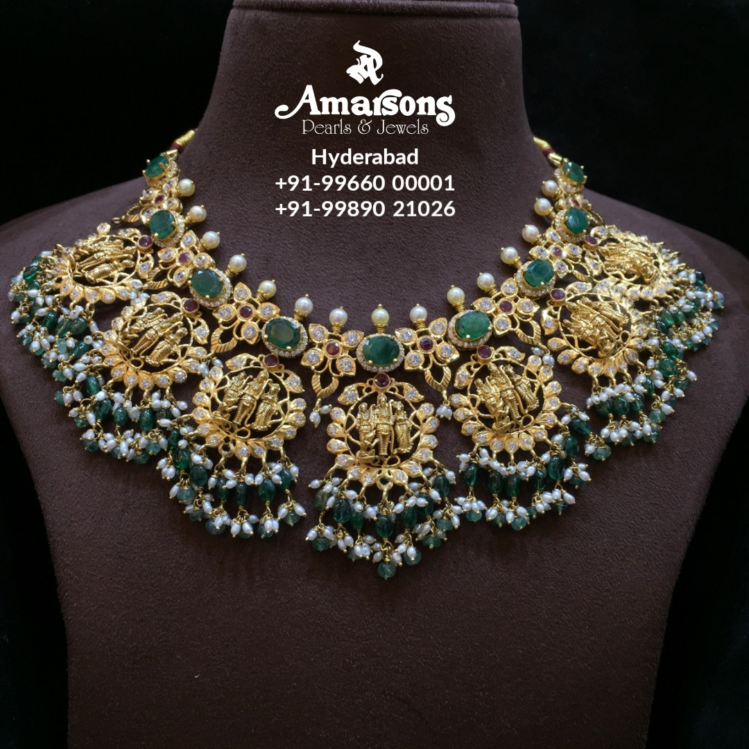 Gold Nakshi Necklace with Emerald Stone  and Ram parivar pendants.  2021-04-05