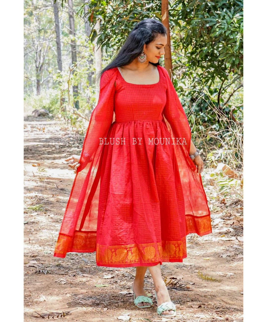 Beautiful knee length pattu long frock with long cape.  2021-04-05