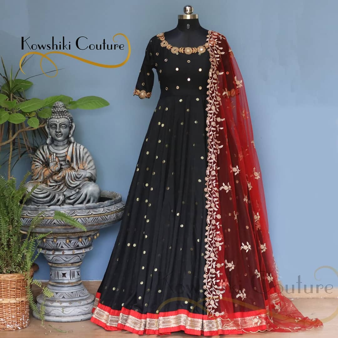Black Long forck with cut work dupatta. Floor length dress with hand embroidery work on neckline.  2021-04-05