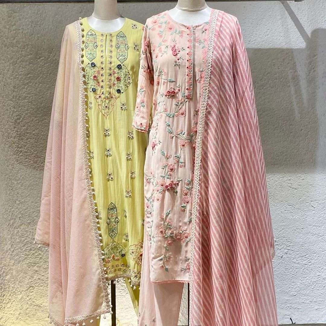 Gorgeous English colors Blush pink and lemon yellow color kurtis with leheriya  dupattas. Kurtis with rich classy hand embroidery work.  2021-04-05