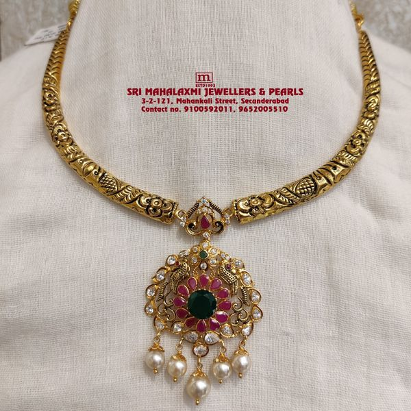 Light Weight Necklace Added Kanti Necklace and Stones Necklace studded with Ruby Emerald Cz South sea pearls made 22KT BIS HALLMARK Gold 2021-04-06