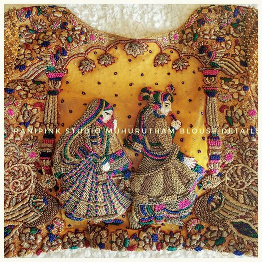 Gorgeous bridal or wedding blouse with bride and groom design hand embroidery heavy maggam work.  2021-04-06