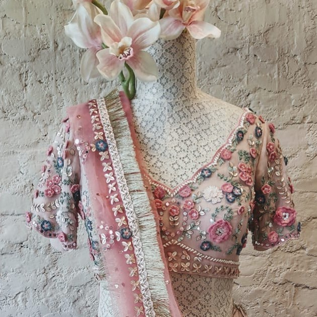 Fresh yet traditional. Stunning blush pink color designer blouse 3D floral hand embroidery work.  2021-04-06