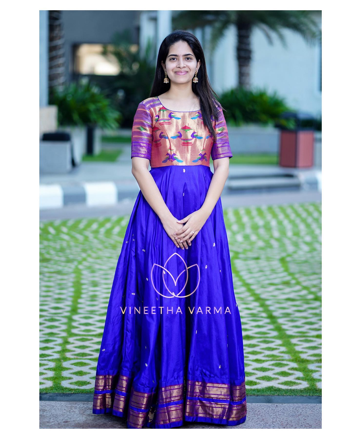 Handloom paithani maxi. Stunning blue color paithani pattu long frock. 2021-04-07
