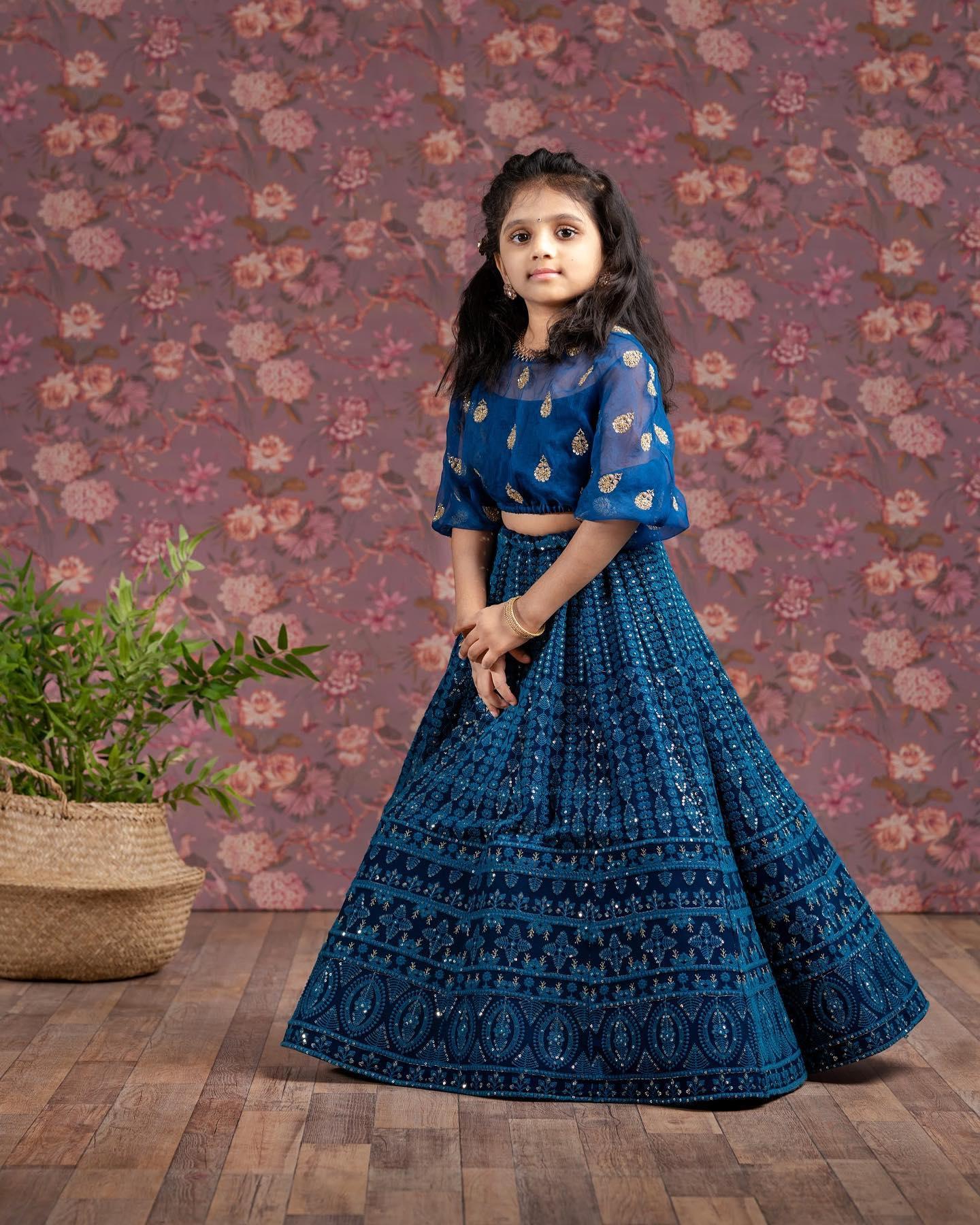 Beautiful cobalt blue color kids umbrella cut lehenga and blouse.  2021-04-07