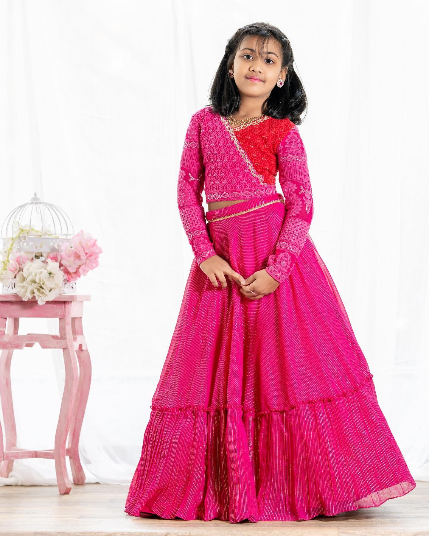 Beautiful pink color kids umbrella cut lehenga and angaraka style blouse.  2021-04-07