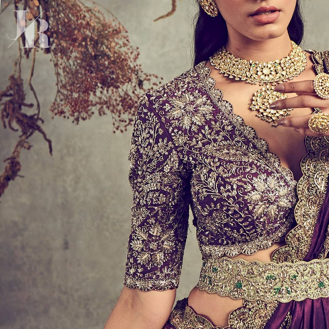 Meticulous detailing ~ COUTURE 2021. Stunning purple color designer blouse and waist belt with classy hand embroidery work.  2021-04-07