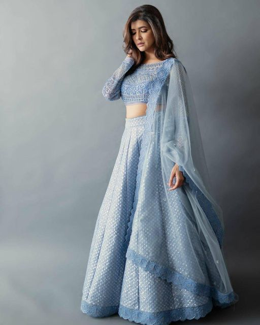 Beautiful actress Lakshmi Manchu in ice blue color lehenga set.  Iutfit : jadebymk. Photography : nehalkaza. Styled by : Neeraja Kona. Asst stylist Manogna Gollapudi. 2021-04-07