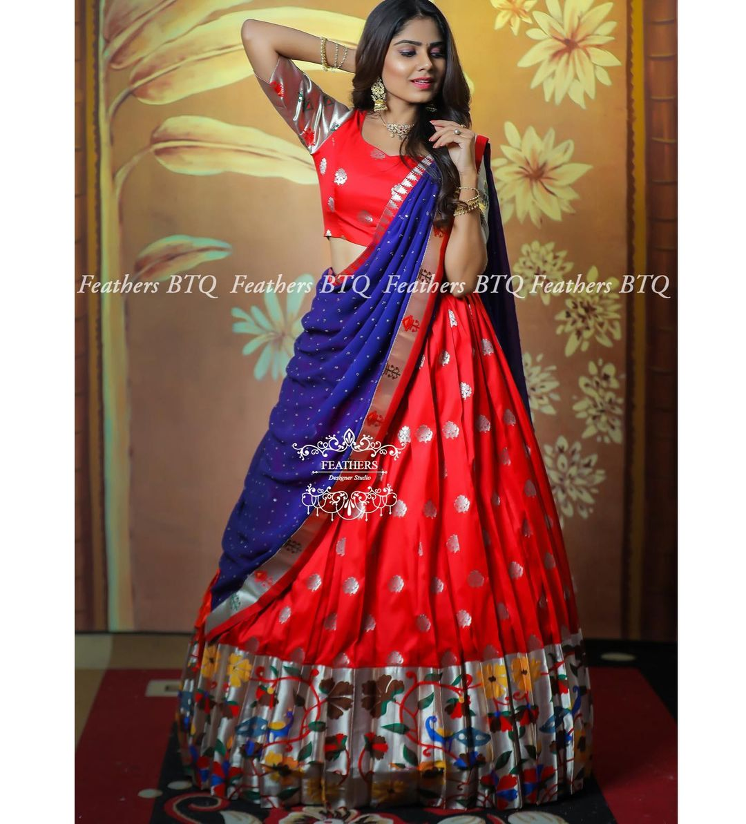 Stunning red color paithani pattu lehenga and blouse with blue color dupatta. 2021-04-07