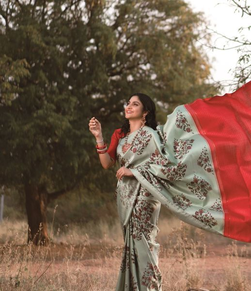 A gorgeous pastel green printed Kanchi silk saree with bright red checked pallu. Printed elegance - collection of gorgeous printed Kanchi silk sarees! 2021-04-08