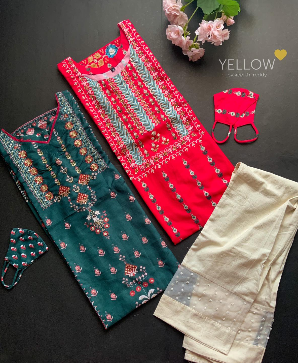 All over printed kurti in semi crape with handwork highlights paired up with khadi cotton pants 