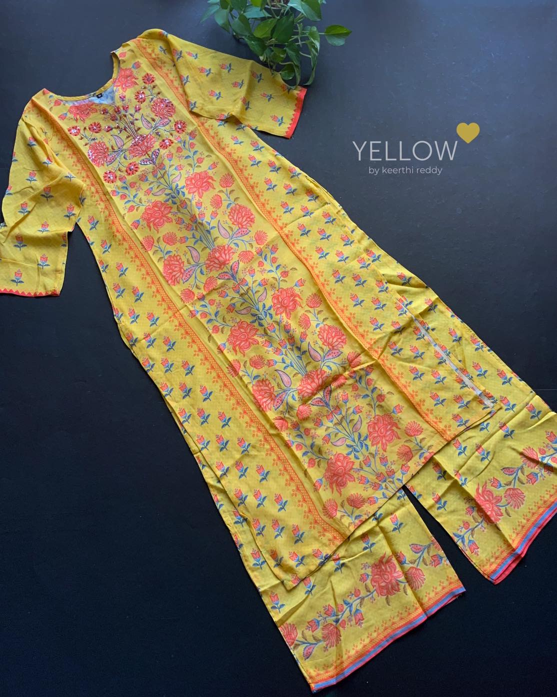 Soft muslin kurti and palazzo set in bright prints and hand embroidered highlights .This dress has NO lining . . Size - M L XL Price - 2399 INR  . . Kindly WhatsApp  at 7995038888 for placing orders . 2021-04-08