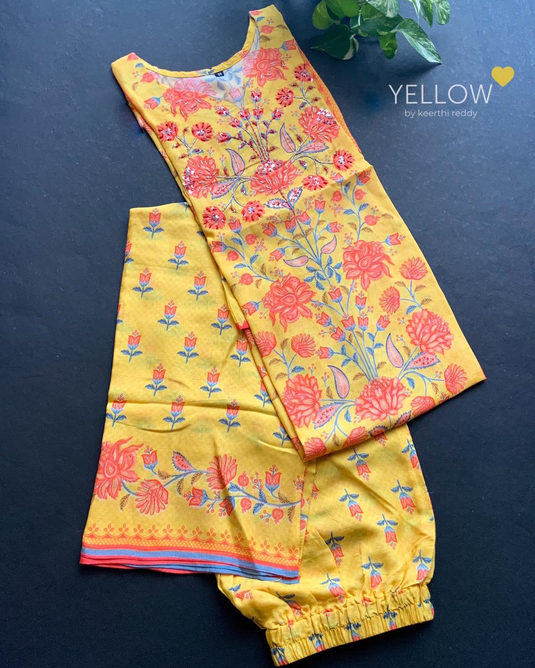 Soft muslin kurti and palazzo set in bright prints and hand embroidered highlights .This dress has NO lining .