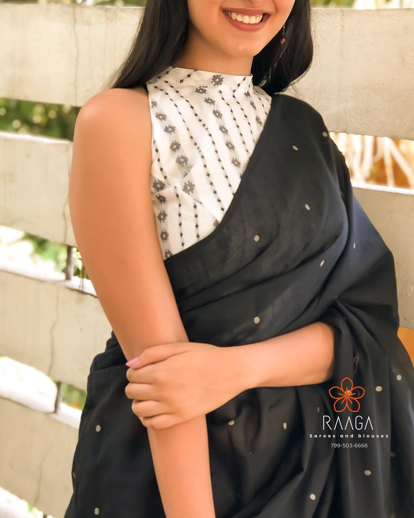 DOTS DONT FADE ! Beautiful black color saree with dots and halter neck khadi blouse.  2021-04-08