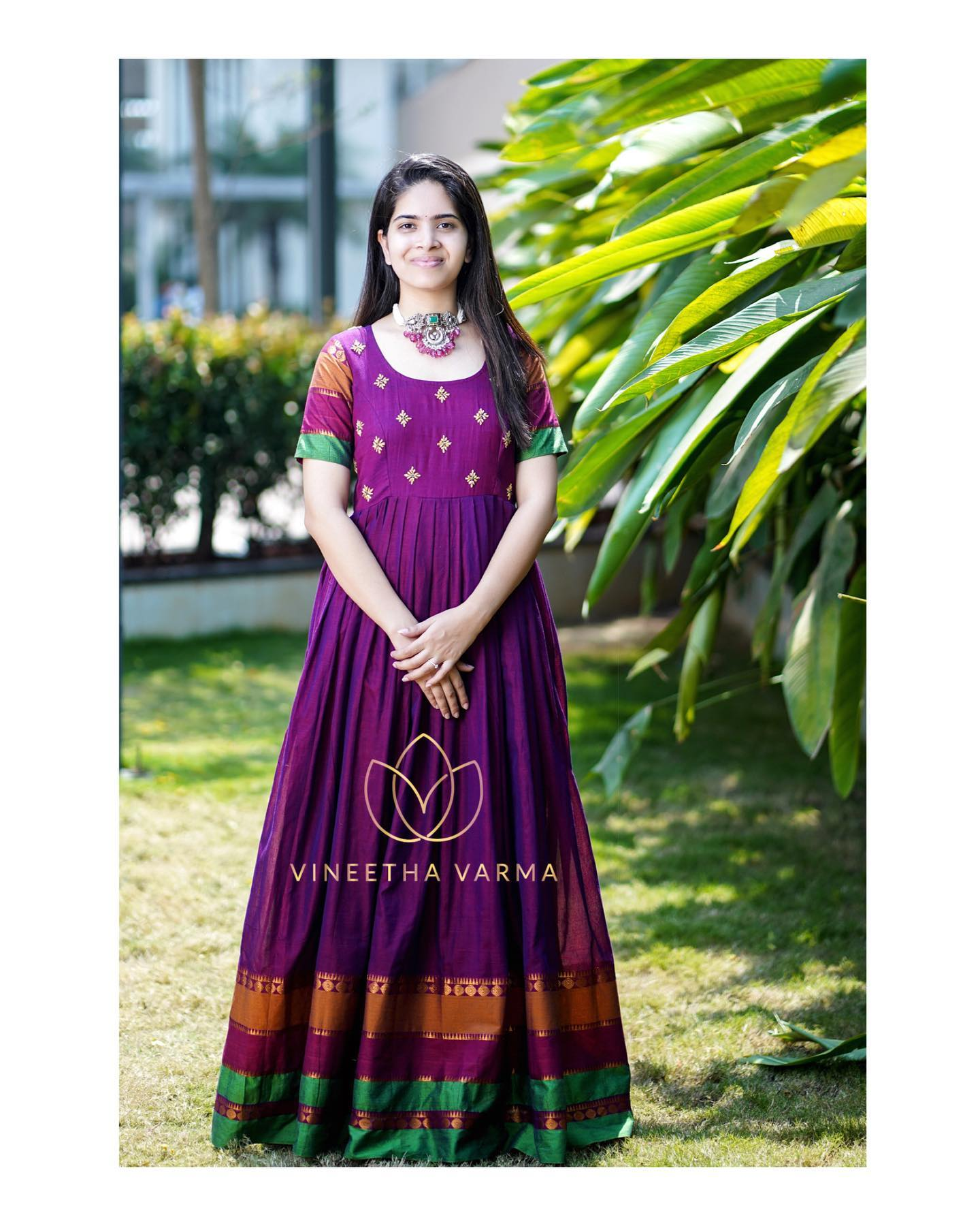 Beautiful purple Handloom maxi. Jewellery : Petals by swathi. Pc : My snap tales. 2021-04-08