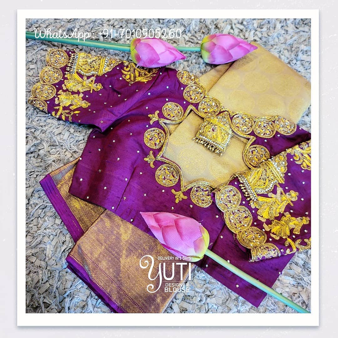 Stunning purple color bridal blouse with baraat design hand embroidery yellow and gold thread bead aari work.  2021-04-08