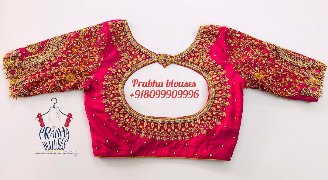 Gorgeous bridal or wedding blouse with glass bead hand embroidery maggam work allover.  2021-04-08