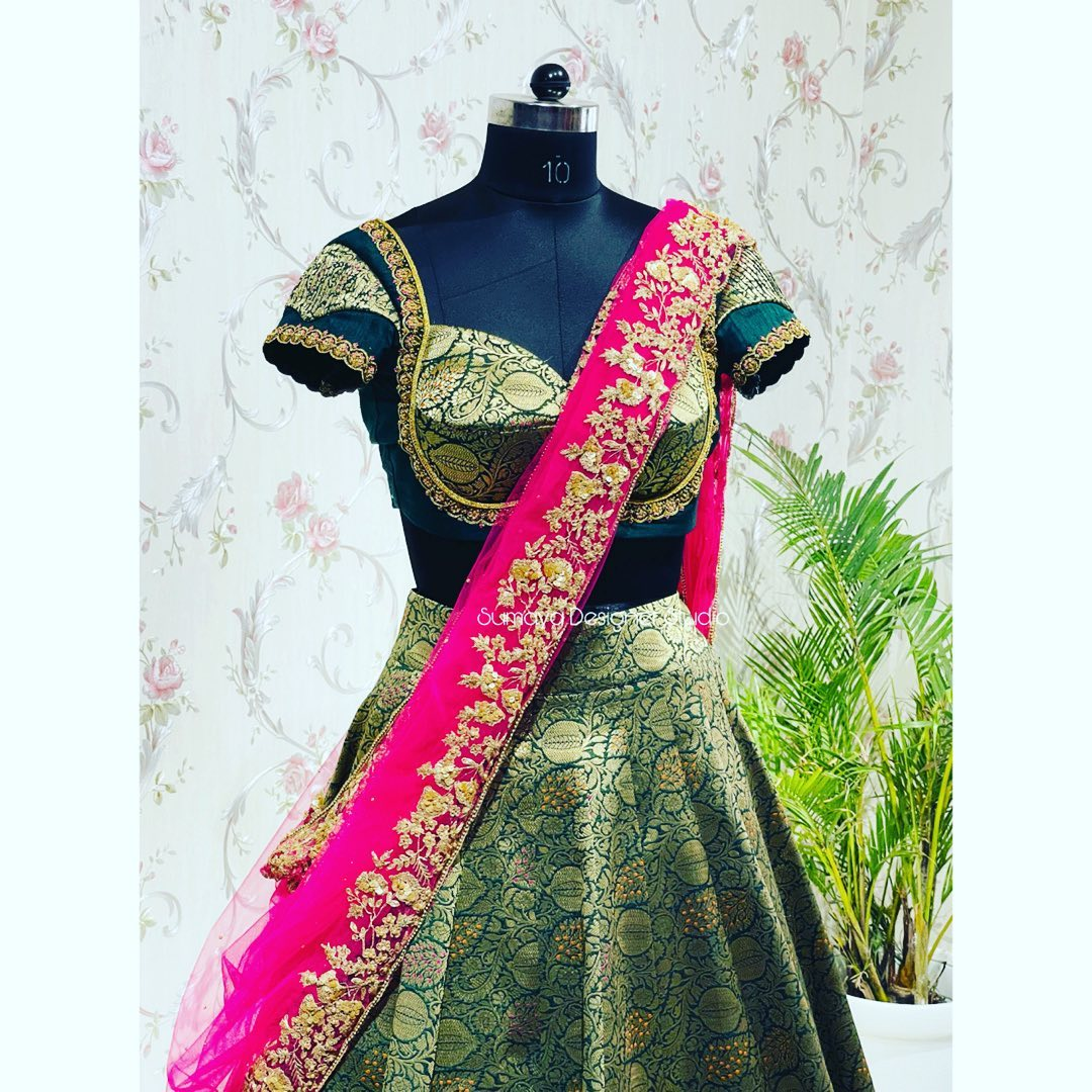 Introducing contemporary silk half saree......!  Traditional look is the latest and all time favorite of women . . Call  for more details