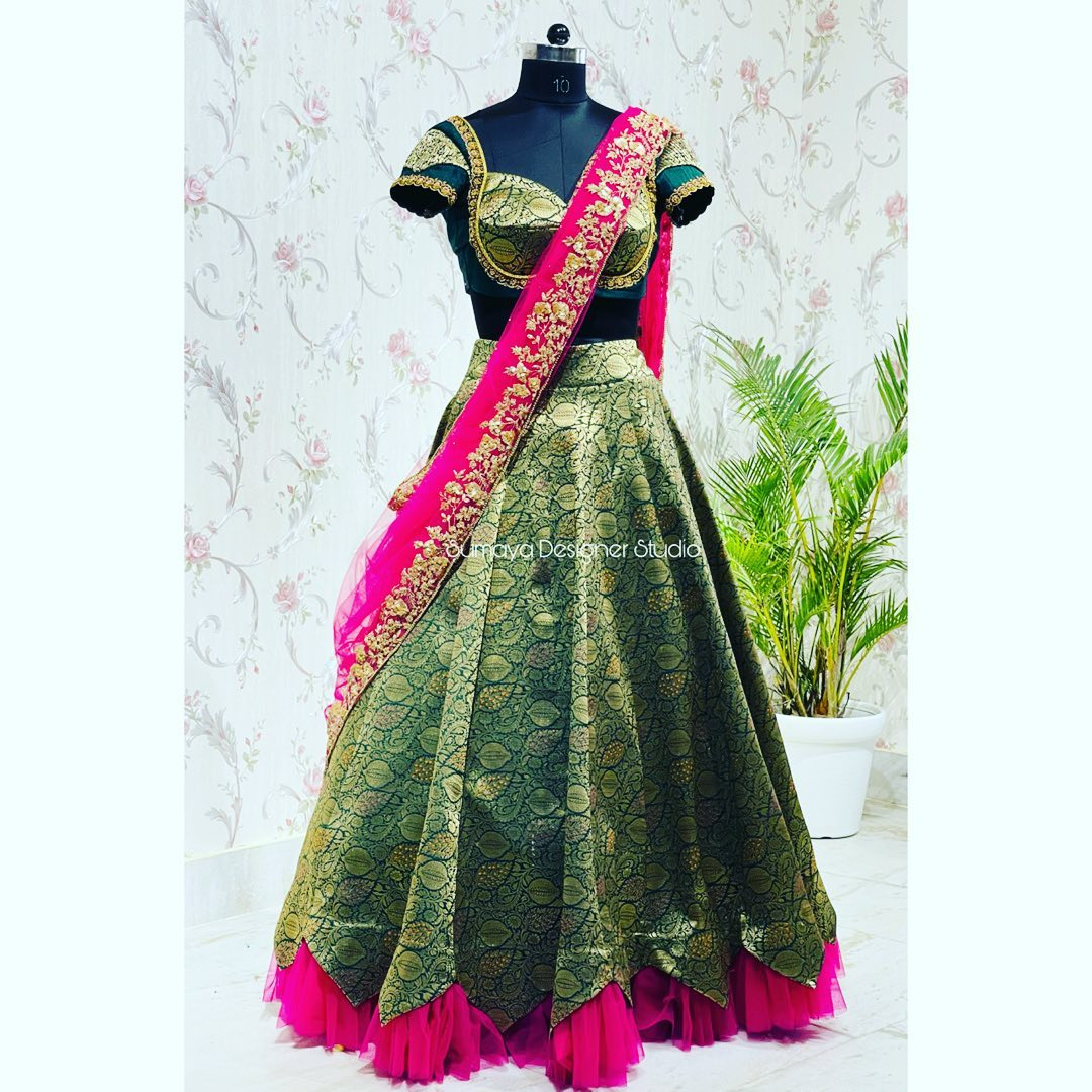 Introducing contemporary silk half saree......!