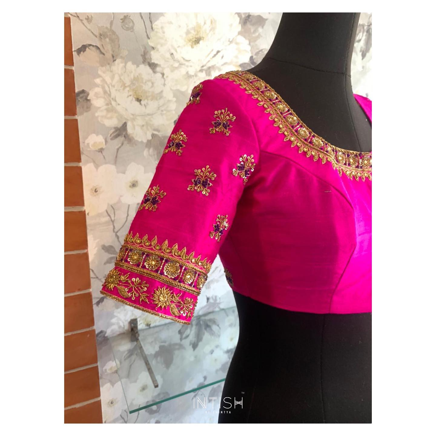 Hot pink for the win! Bespoke blouse with gold and contrast thread embroidery zardosi work. 2021-04-09