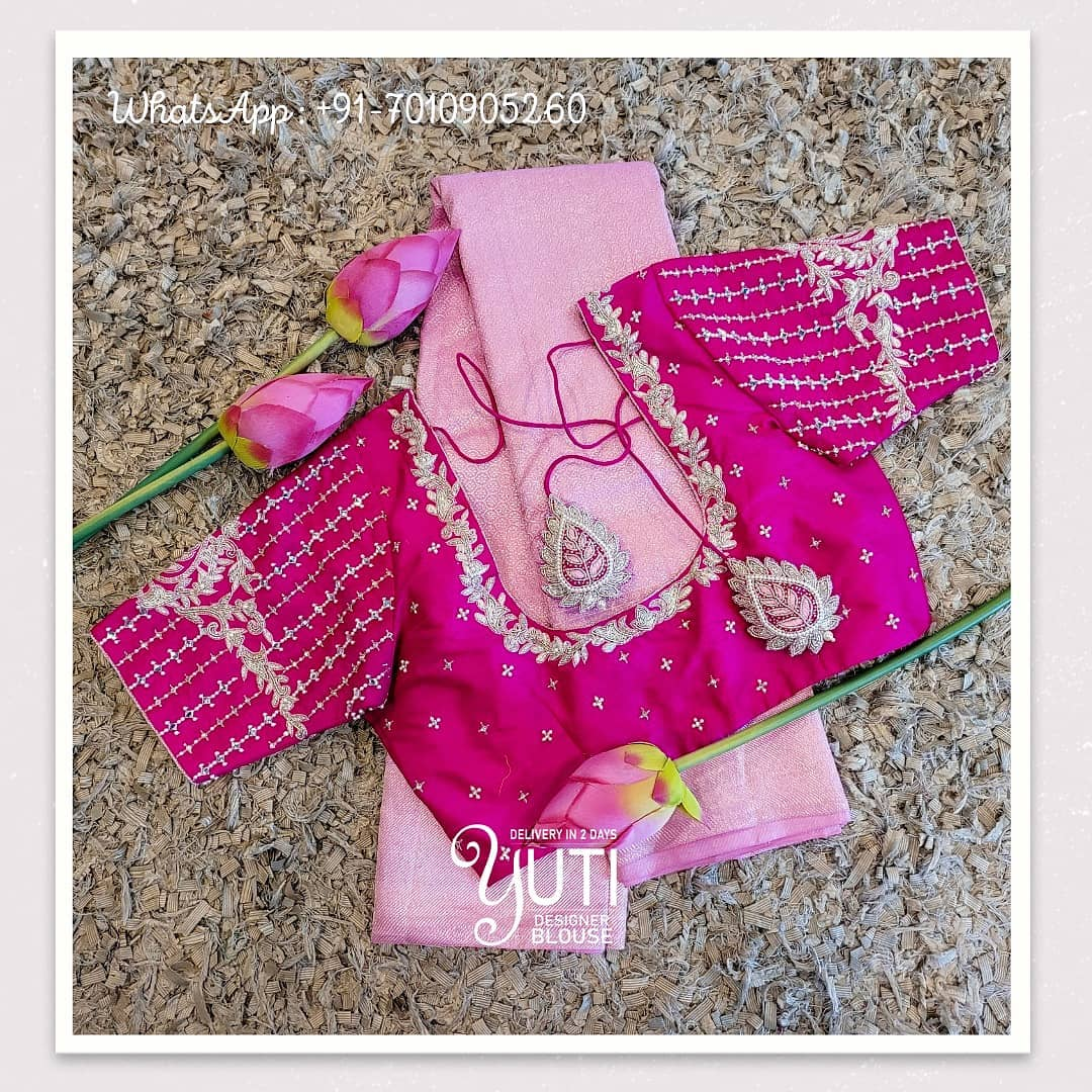 Gorgeous pink color designer blouse with creeper and floral design hand embroidery silver thread and stone aari work.  2021-04-09