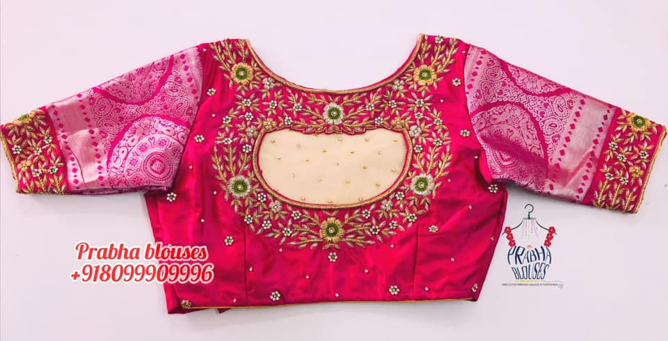 Gorgeous wedding blouse with floral design hand embroidery gold thread and stone maggam work.  2021-04-09