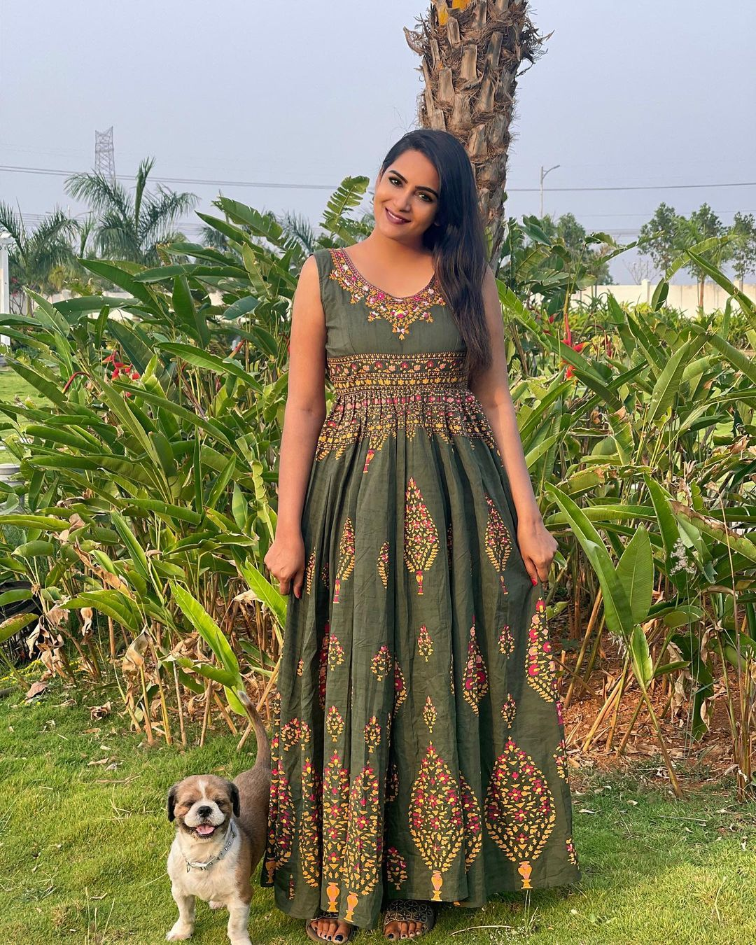 Beautiful actress Himaja in sleeveless floor length dress with hand embroidery work. Outfit : Sweccha collections. 2021-04-09