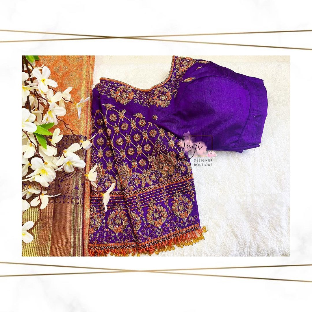 Gorgeous deep blue color designer blouse with floral design hand embroidery 3D aari work.  2021-04-09
