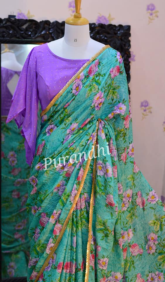 New floral chinon sequence embroidery sarees with stitched blosues. To order contact  on whatsapp : 9701673187. 2021-04-10