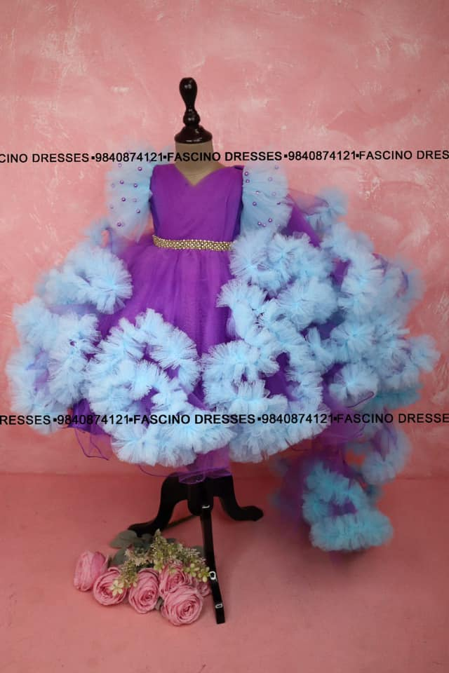 A pretty Lavander with blue cloud kids ballgown from #Fascino 