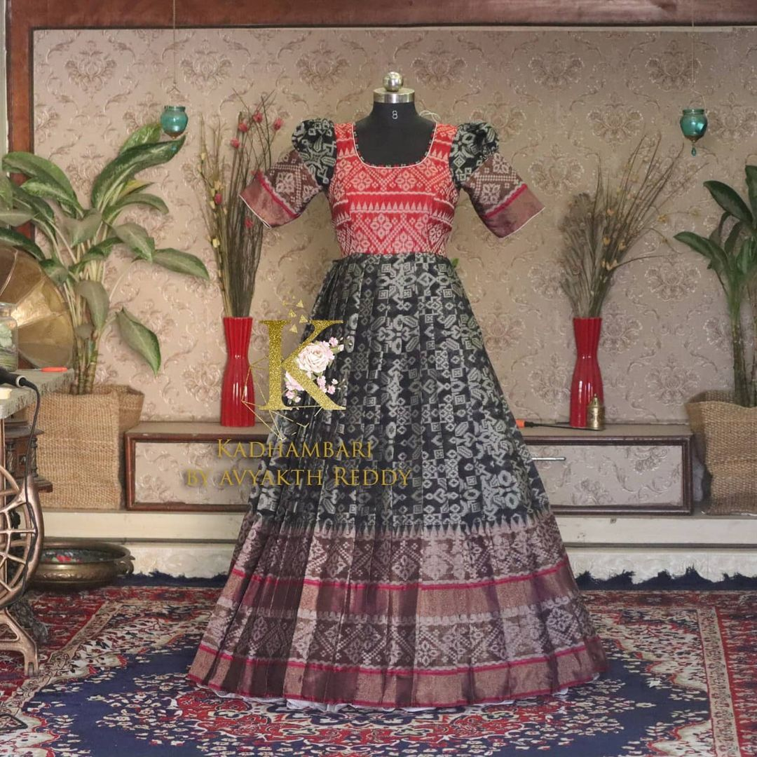 Beautiful black and red color combination floor length dress.  This outfit is Available at 5800/- from house of Kadhambari. They can customize size as per your requirement. They have international shipping service too. For Orders and Enquiry Reach  on WhatsApp +91 8801876477/ +91 9063479099 2021-04-10