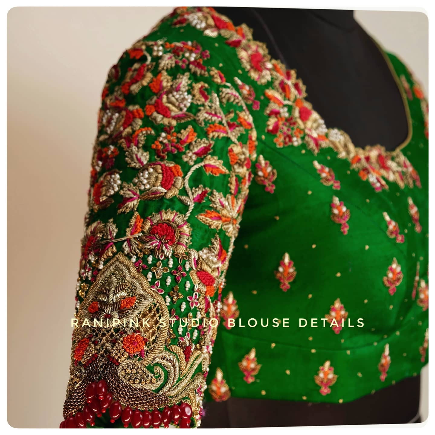 Stunning parrot green color wedding designer blouse with maggam work. 2021-04-11