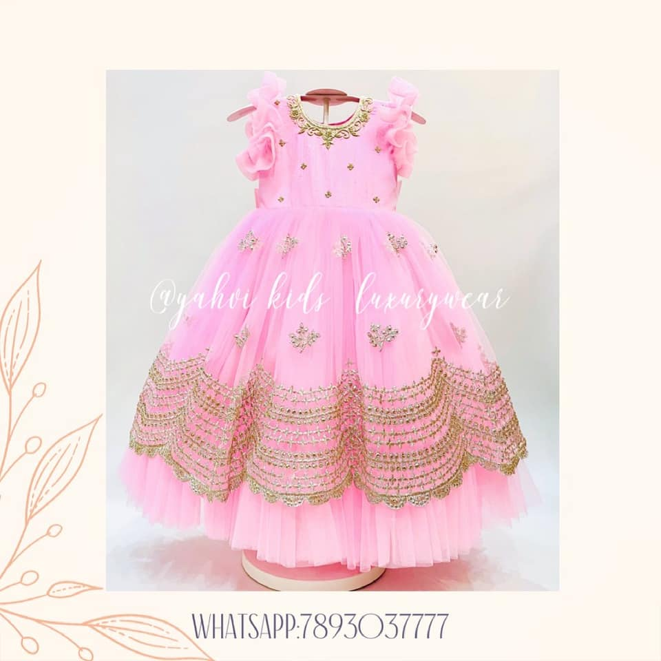 Customised this beautiful baby pink frock for a 2 year old birthday .