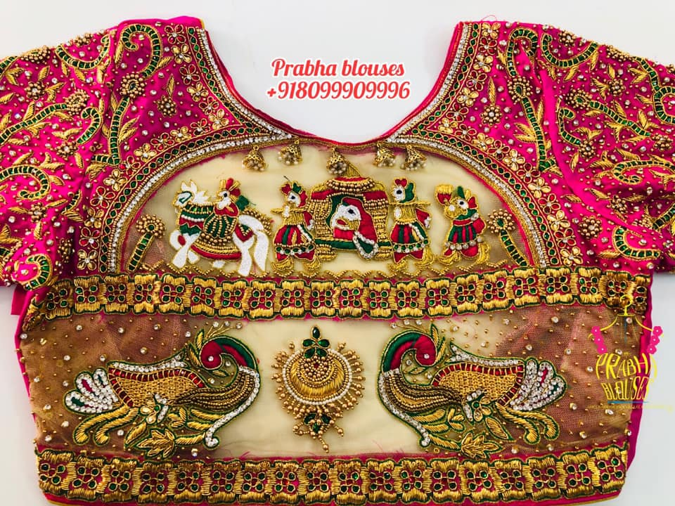 Gorgeous bridal blouse with pallaki or doli or baaraat design hand embroidery 3D maggam work.  2021-04-11