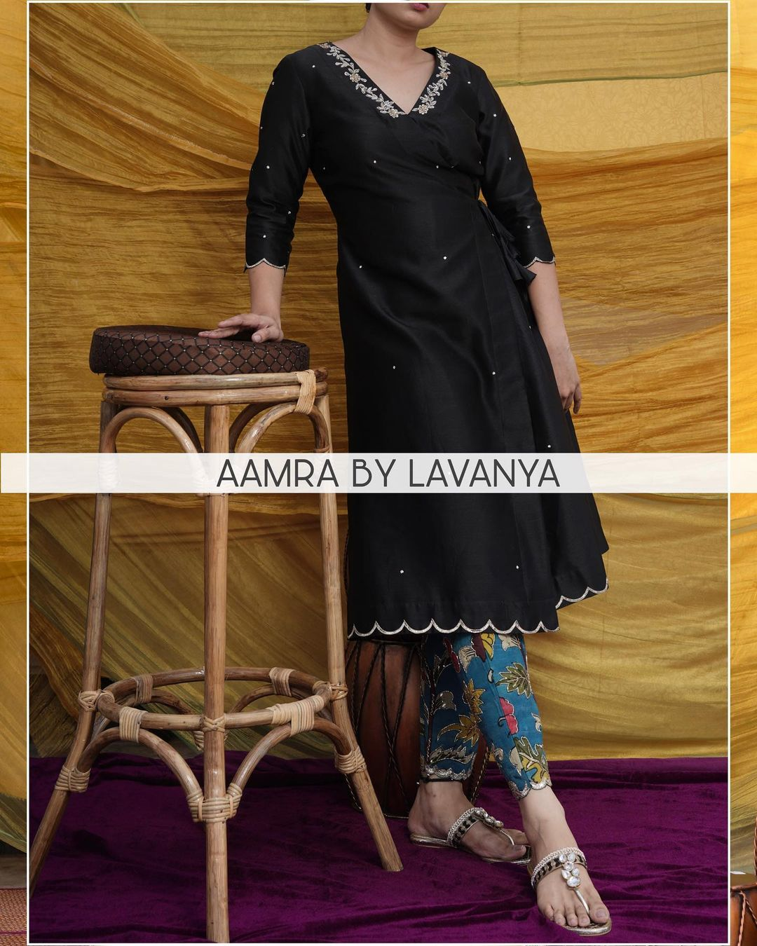 ~QALAM~ New collection. Hand painted kalamkari straight pants with hand embroidered work paired with a side knot tunic. 2021-04-11