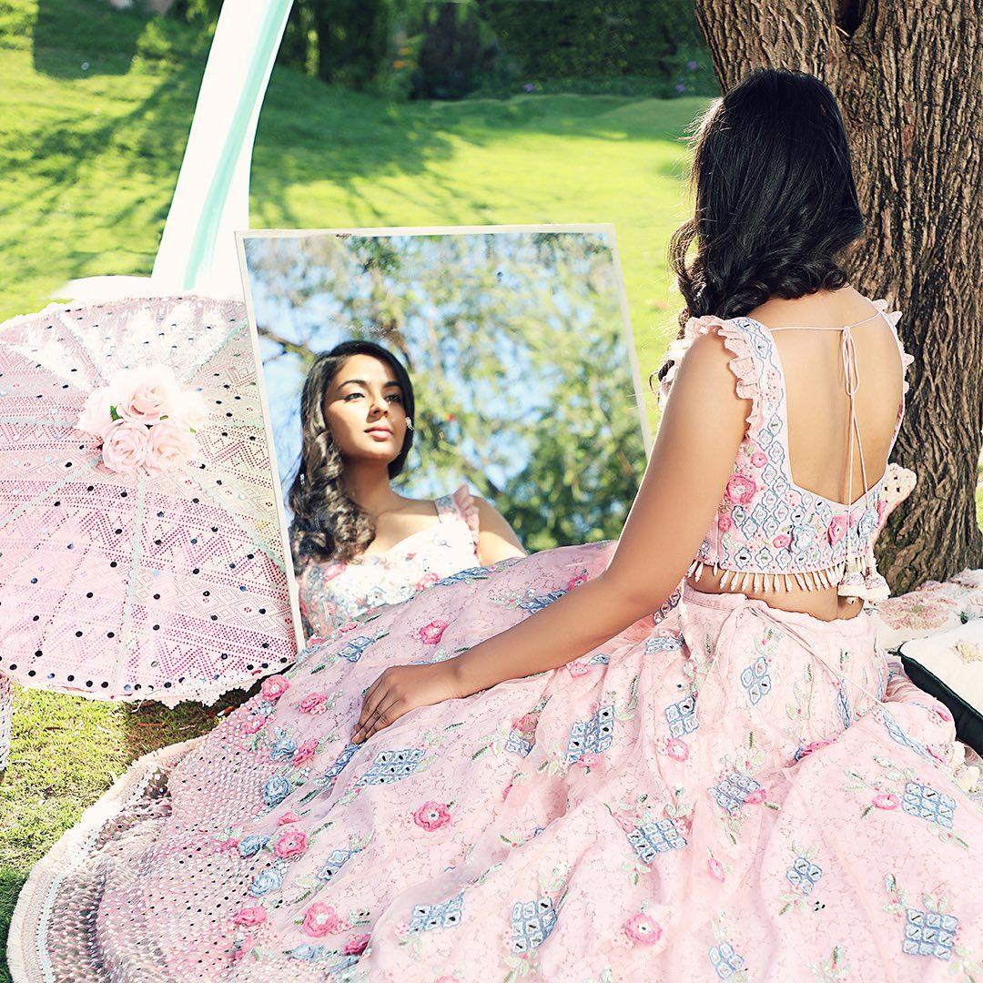 Gorgeous blush pink color bridal lehenga and blouse. Lehenga set with classy hand embroidery work.  The Small Window Lehenga.  Windows of Paradise | SS '21. 2021-04-11