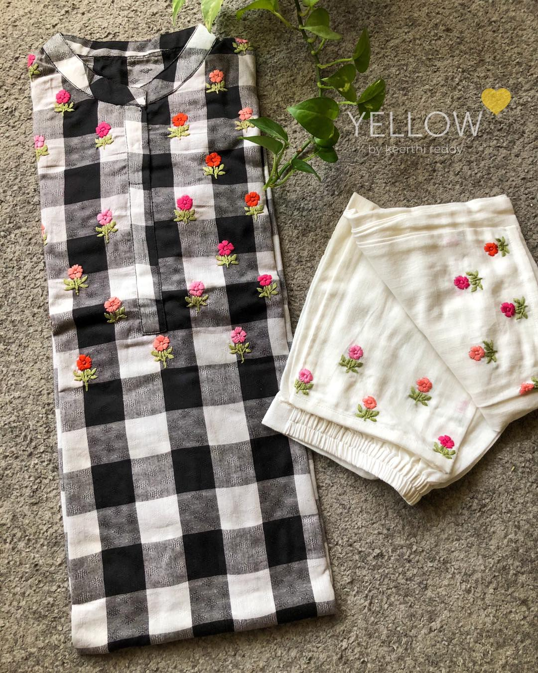 CHECK MATE !  Black and white soft linen checks kurti and pant with tiny florals embroidered.  Size - L XL XXL Price - 2499 INR . Kindly WhatsApp  at 7995038888 for placing orders. 2021-04-12