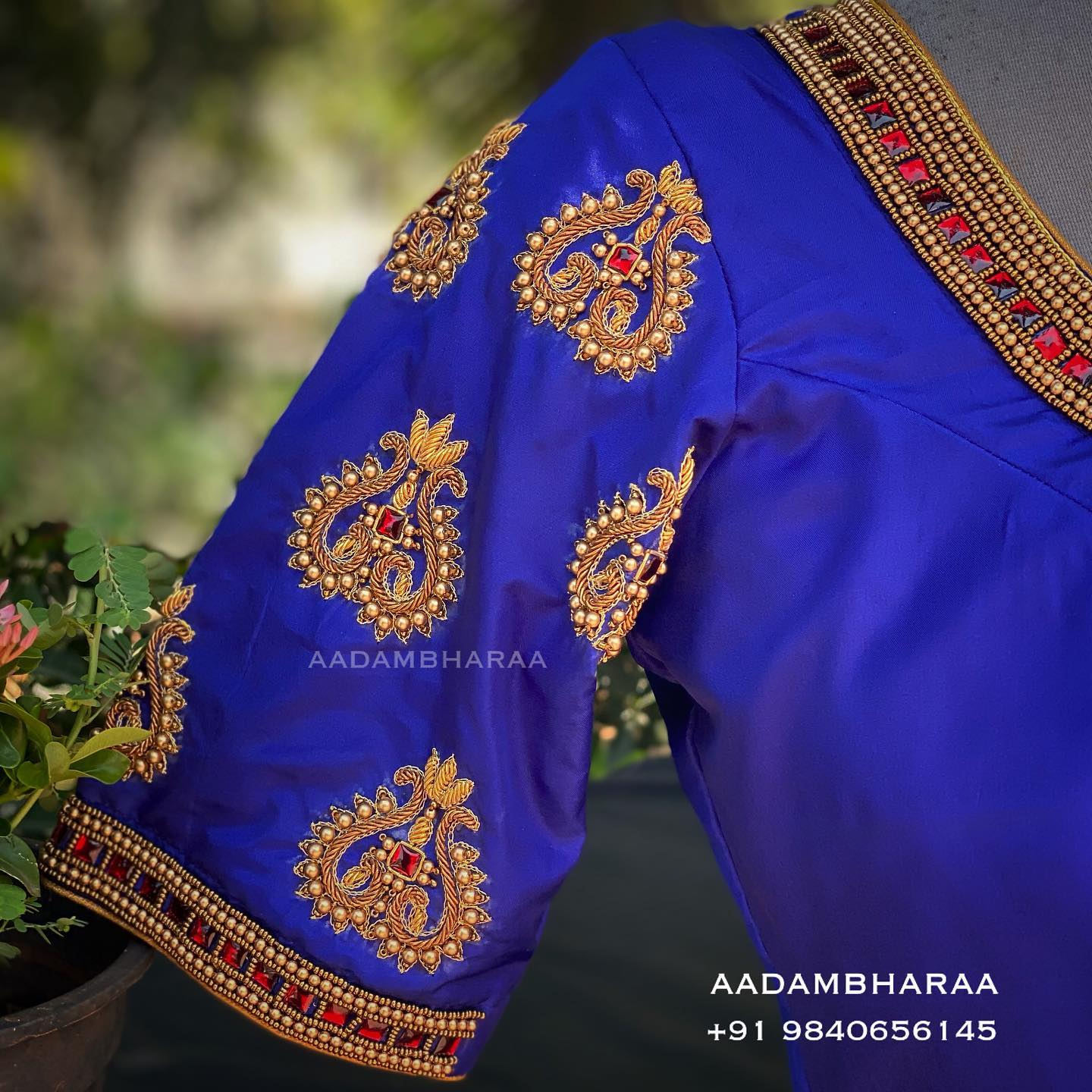 """Elegance is the highest form of sophistication "" and here is one such blouse of Aadambharaa that exudes grace and aristocracy in its carefully hand embroidered peacock motifs on the sleeves.