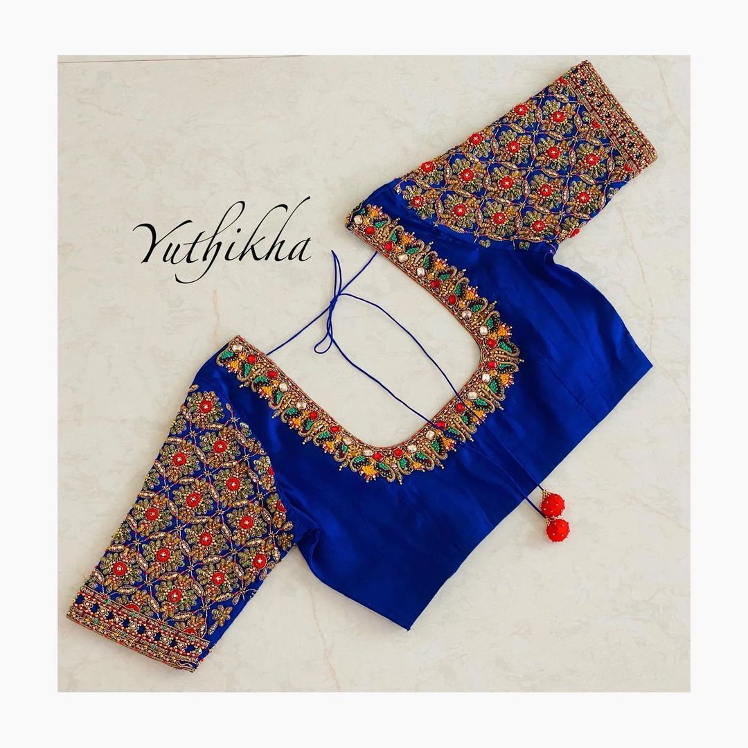 Stunning royal blue color designer blouse with floral  design hand embroidery bead and stone aari work. Bridal embroidery blouse from the house of Yuthikha designer studio!!!