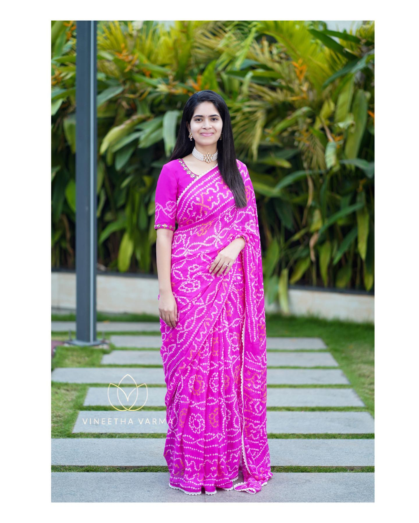 Pink bandhej crepe saree with mirror and gotta patti embroidered blouse. Blouse is fully stitched and Saree has done with fall and pico Jewellery Petals by Swathi. Pc My snap tales. 2021-04-13