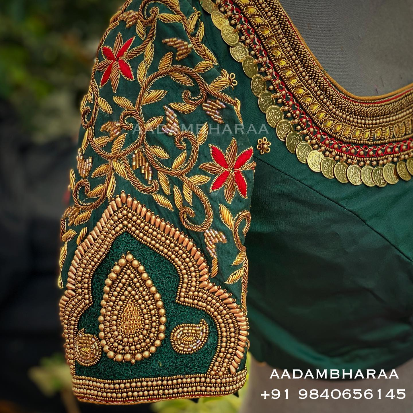 The intricately hand embroidered blouse by Aadambharaa with detailed zardosi thread embroidery and bead work is the perfect way to showcase your traditional style with grace. 2021-04-13