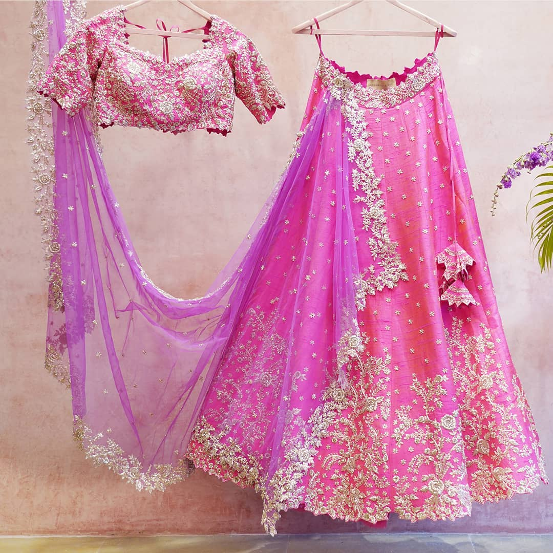 Gorgeous pink color bridal lehenga and blouse with purple net dupatta. Lehenga and blouse with silver thread work. 2021-04-13