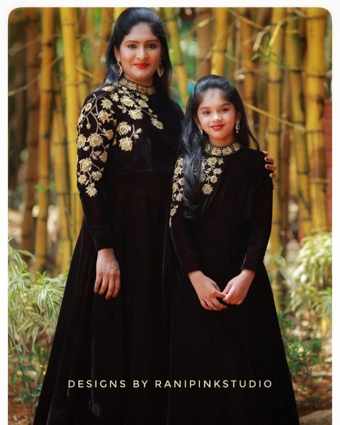 Beautiful maroon color velvet floor length mom and daughter long gowns.  2021-04-14