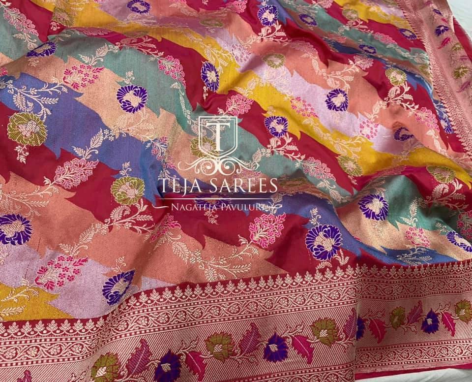 TS-SR-529. Available. Handwoven Masterpiece banasari Katan meenakari kadwa rankard Jangla saree with intricate weaves from Team Teja !! For orders/queries Call/ what's app  on 8341382382 Mail  tejasarees@yahoo.com 2021-04-14