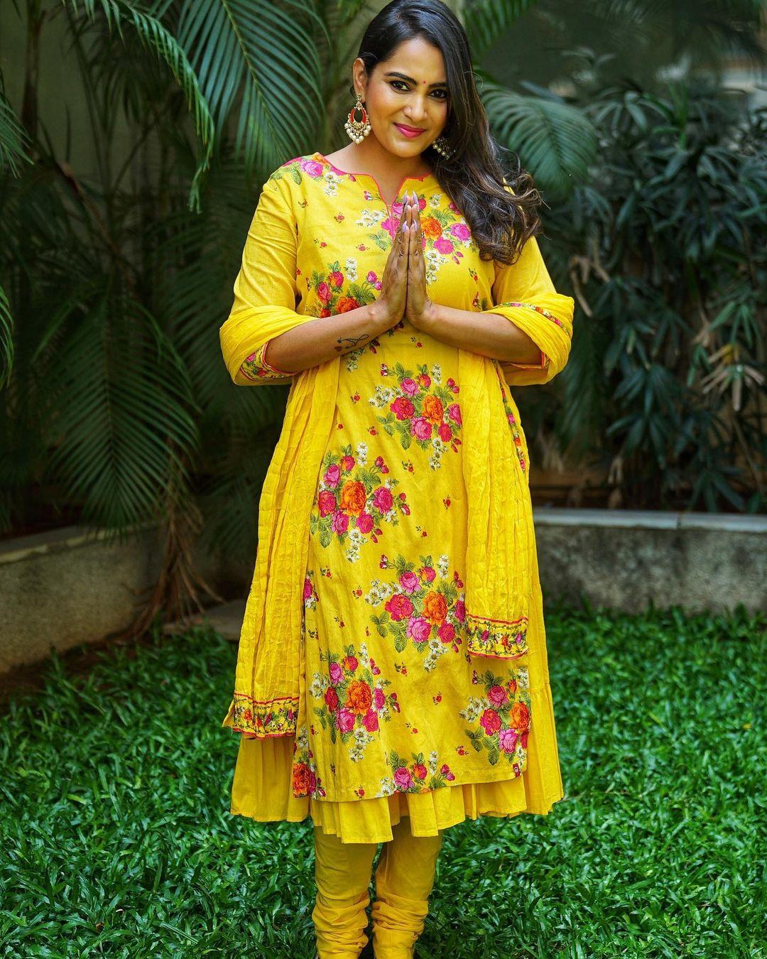 Beautiful actress Himaja in yellow color floral anarkali dress. 2021-04-14